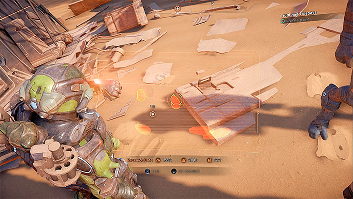 Activate the scanner and find the footprints presented in the picture above - Truth and Trespass | Allies and Relationships - Allies and Relationships quests - Mass Effect: Andromeda Game Guide