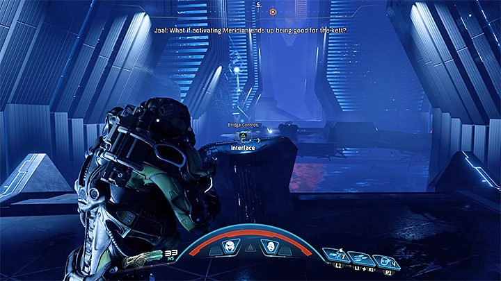Double back using the same route, but be ready for an Remnant attack once you return to the large hall guarded by a turret - The Journey to Meridian | Priority Ops | Walkthrough - Priority Ops (Main quests) - Mass Effect: Andromeda Game Guide