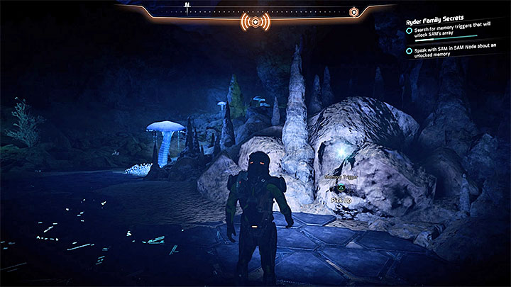 Search the cave, especially the part where you can find the monolith - Ryder Family Secrets | Allies and Relationships - Allies and Relationships quests - Mass Effect: Andromeda Game Guide