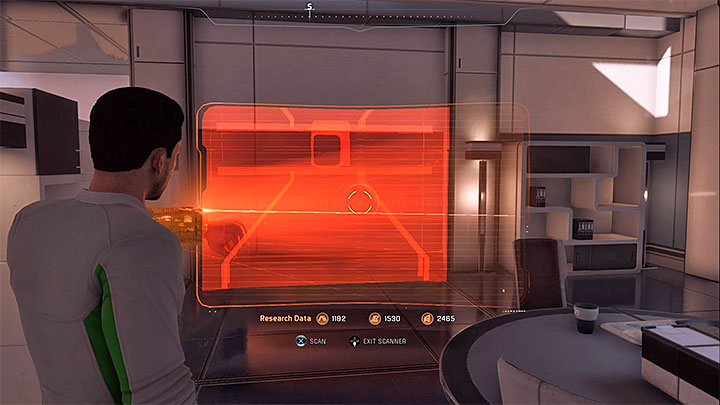 Go to the room closer to the apartments exit and scan the wall presented in the picture - Ryder Family Secrets | Allies and Relationships - Allies and Relationships quests - Mass Effect: Andromeda Game Guide