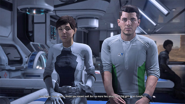Your twin sibling has awoken from the coma - use the opportunity to update her on the recent developments - Ryder Family Secrets | Allies and Relationships - Allies and Relationships quests - Mass Effect: Andromeda Game Guide