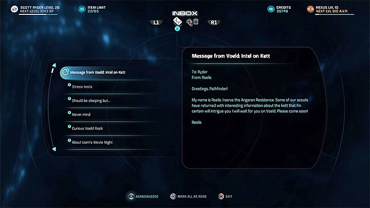 The e-mail should appear in your inbox after saving Moshae Sjefa during the main - Know Your Enemy | Allies and Relationships - Allies and Relationships quests - Mass Effect: Andromeda Game Guide