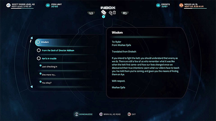The e-mail from Moshae Sjefa - Additional tasks | Aya side quests - Aya - Mass Effect: Andromeda Game Guide