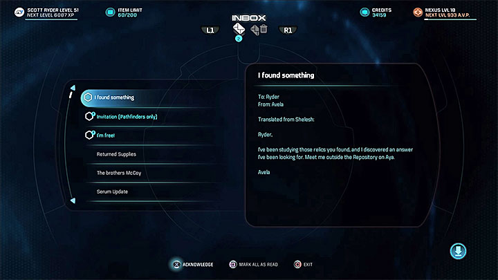 You must receive Avelas message - Additional tasks | Aya side quests - Aya - Mass Effect: Andromeda Game Guide
