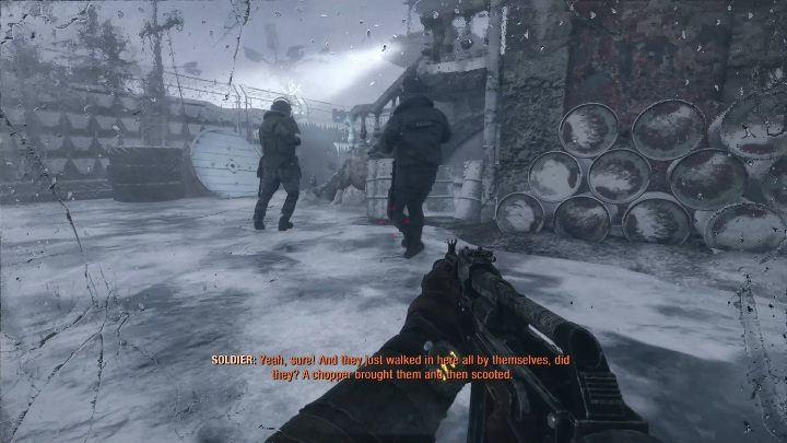 Get rid of two opponents at the very beginning - Moscow - Inside the enemy base - Metro Exodus Walkthrough - Moscow - Metro Exodus Guide