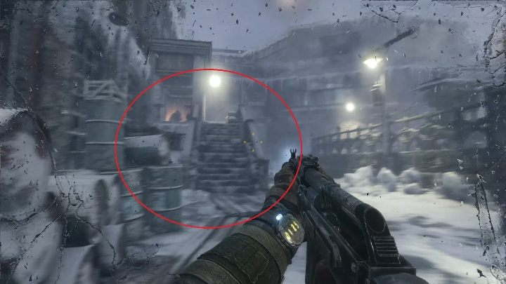 Your next task is to quietly climb the stairs shown on the screen above - Moscow - Inside the enemy base - Metro Exodus Walkthrough - Moscow - Metro Exodus Guide