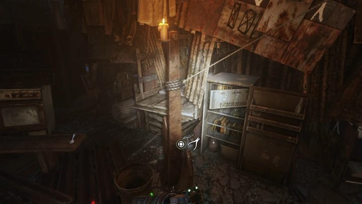 Next, cut the string and go up the ladder - Taiga - Stealing a boat and visiting the Admiral - Metro Exodus Walkthrough - Taiga - Metro Exodus Guide