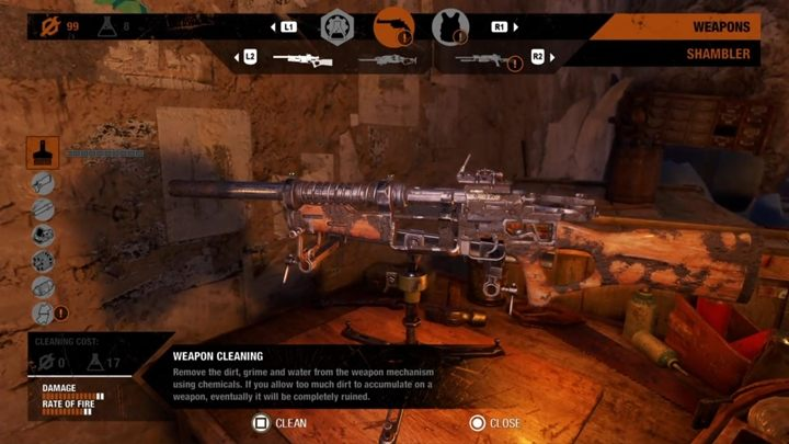 To clean the weapon, we have to go to the workbench and start cleaning the weapon there - How to clean weapons in Metro Exodus? - Weapons and combat - Metro Exodus Guide