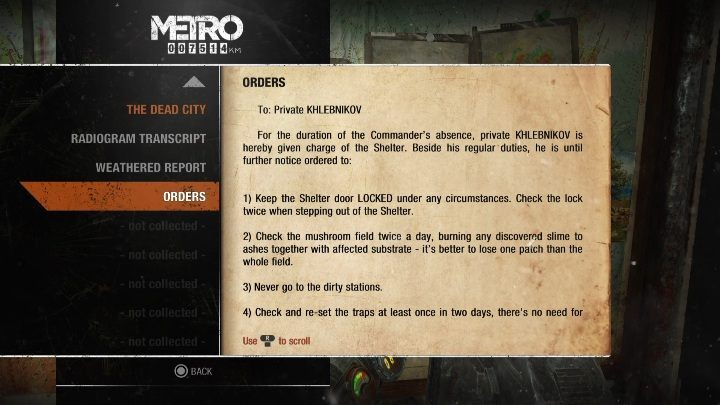 6 - Diaries and postcards in Autumn and the Dead City - Metro Exodus Collectibles - Diaries and postcards - Metro Exodus Guide