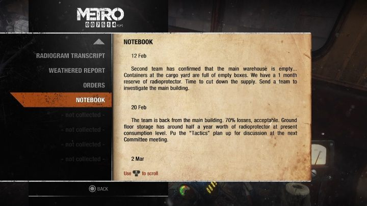 8 - Diaries and postcards in Autumn and the Dead City - Metro Exodus Collectibles - Diaries and postcards - Metro Exodus Guide