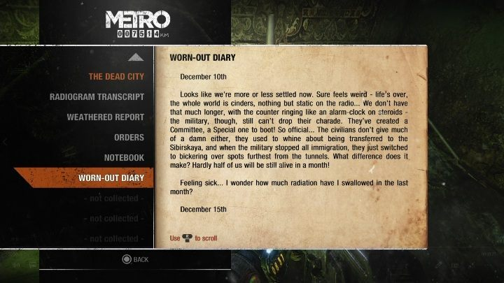 10 - Diaries and postcards in Autumn and the Dead City - Metro Exodus Collectibles - Diaries and postcards - Metro Exodus Guide