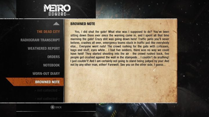 12 - Diaries and postcards in Autumn and the Dead City - Metro Exodus Collectibles - Diaries and postcards - Metro Exodus Guide