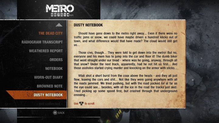 14 - Diaries and postcards in Autumn and the Dead City - Metro Exodus Collectibles - Diaries and postcards - Metro Exodus Guide