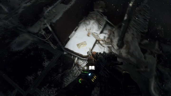 Location: A broken bus is on the malls bottom floor - Diaries and postcards in Moscow - Metro Exodus Collectibles - Diaries and postcards - Metro Exodus Guide