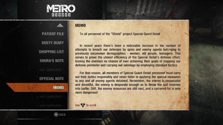 15 - Diaries and postcards in Moscow - Metro Exodus Collectibles - Diaries and postcards - Metro Exodus Guide