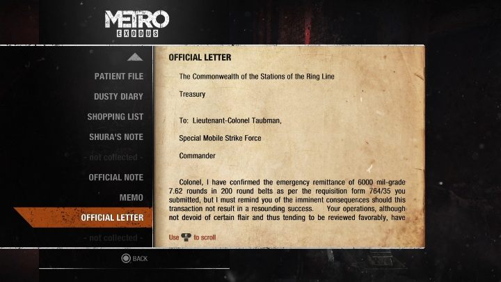 If you collect this document, you wont be able to complete the level unnoticed - Diaries and postcards in Moscow - Metro Exodus Collectibles - Diaries and postcards - Metro Exodus Guide
