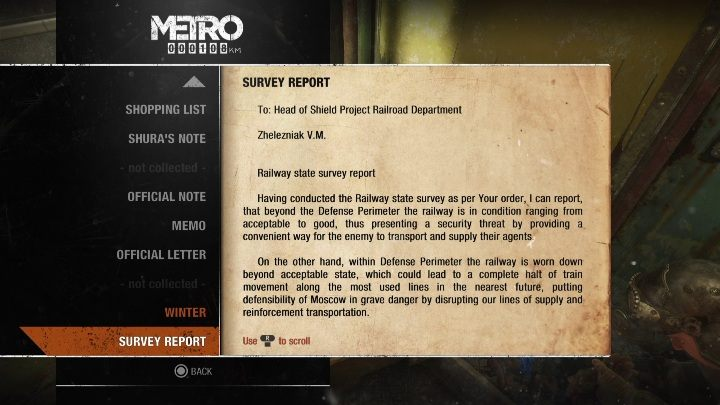 8 - Diaries and postcards in Winter and The Volga - Metro Exodus Collectibles - Diaries and postcards - Metro Exodus Guide