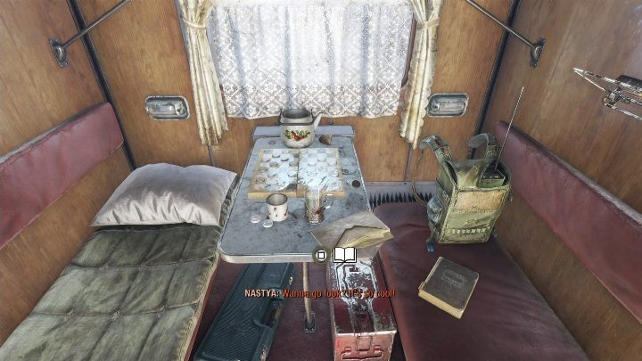 Location: After speaking with Anna, go to the next compartment - Diaries and postcards in Spring and Yamantau - Metro Exodus Collectibles - Diaries and postcards - Metro Exodus Guide