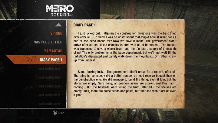 2 - Diaries and postcards in Spring and Yamantau - Metro Exodus Collectibles - Diaries and postcards - Metro Exodus Guide