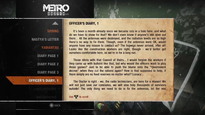 8 - Diaries and postcards in Spring and Yamantau - Metro Exodus Collectibles - Diaries and postcards - Metro Exodus Guide