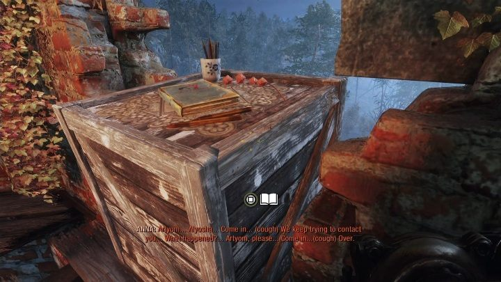 Location: The note is on the top of the destroyed tower - Diaries and postcards in Taiga - Metro Exodus Collectibles - Diaries and postcards - Metro Exodus Guide