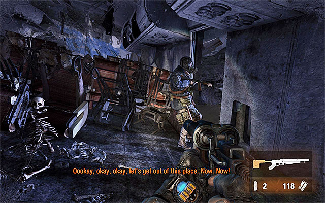Only then should you join your companion to help him put the mask on - Follow Pavel to the Theater Station - Chapter 8: Echoes - Metro: Last Light - Game Guide and Walkthrough