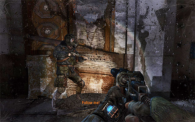 Wait for Pavel's signal to resume on your path towards the theatre and follow him without waiting for the mutants to appear in the area again - Follow Pavel to the Theater Station - Chapter 8: Echoes - Metro: Last Light - Game Guide and Walkthrough