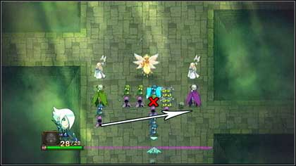 Remove the green Zombie standing beside the bone wall and afterwards move the purple Guard from the left edge of the battlefield to the right - Heresh - Battle puzzles - Might & Magic: Clash of Heroes - Game Guide and Walkthrough