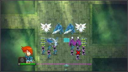Remove the blue Zombie surrounded by purple Guards [1] and you will activate the first attack formation [2] - Heresh - Battle puzzles - Might & Magic: Clash of Heroes - Game Guide and Walkthrough