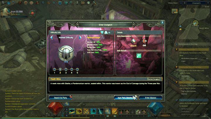 Puedes elegir el nivel de dificultad antes de ingresar a un Dungeon.  - Consejos de inicio - Consejos y sugerencias - MU Legend Guide