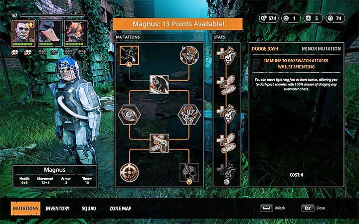 You can spend skill points on mutations (each character has 8 available mutations) and permanent stat bonuses - Character development and gear selection in Mutant Year Zero Road to Eden - Basics - Mutant Year Zero Road to Eden Guide