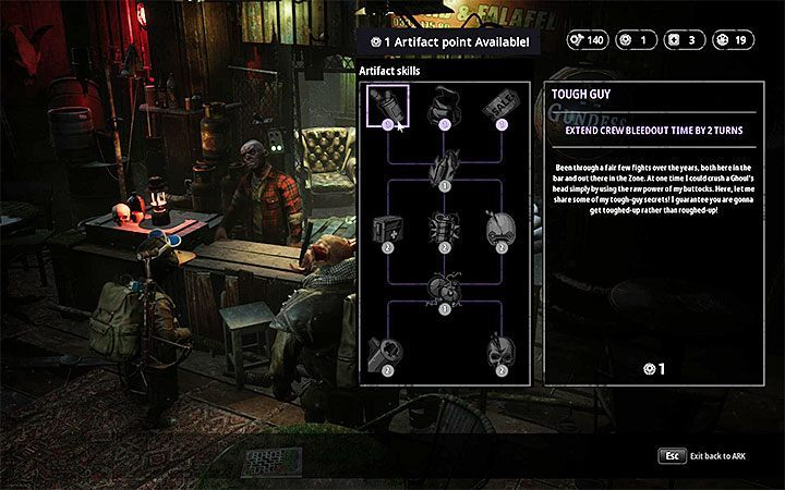The Tough Guy upgrade offers some help, it costs one artifact - How to heal team members in Mutant Year Zero? - FAQ - Mutant Year Zero Road to Eden Guide