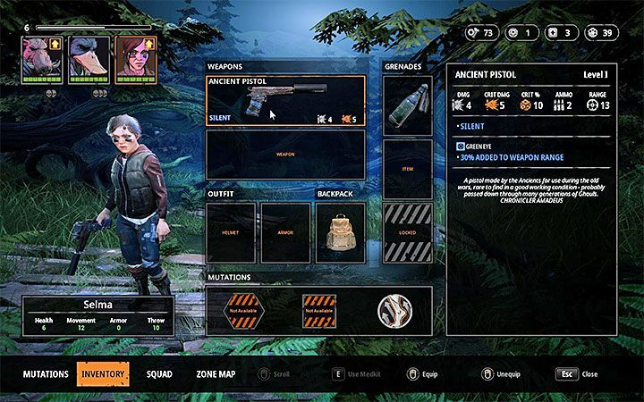 Ancient Pistol Selma is equipped with it - How to get silent weapons in Mutant Year Zero? - FAQ - Mutant Year Zero Road to Eden Guide
