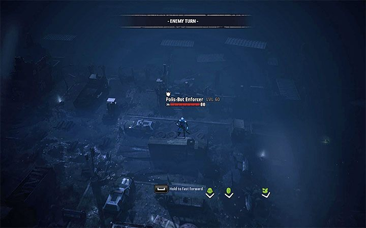 The enforcer bots are a stronger variety of robots and in addition to laser guns, they can also perform long jumps - Dealing with difficult opponents in Mutant Year Zero Road to Eden - Basics - Mutant Year Zero Road to Eden Guide