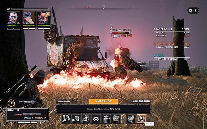 A tank is a strong opponent who, apart from using a good weapon, can perform a charge and stun a team member by knocking them to the ground - Dealing with difficult opponents in Mutant Year Zero Road to Eden - Basics - Mutant Year Zero Road to Eden Guide