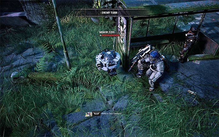 Mimir Z200 is a flying robot that can shoot from a powerful cannon - Dealing with difficult opponents in Mutant Year Zero Road to Eden - Basics - Mutant Year Zero Road to Eden Guide