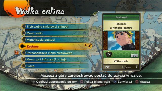 Available game modes   Online gameplay - Naruto Shippuden