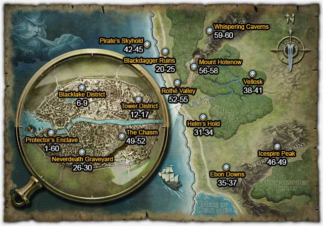 world map and suggested level ranges maps neverwinter game