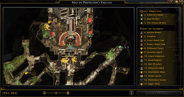 On the right side of the map window is the legend, clicking on any element will center the map on it - Map and map icons - Game basics and exploration - Neverwinter - Game Guide and Walkthrough