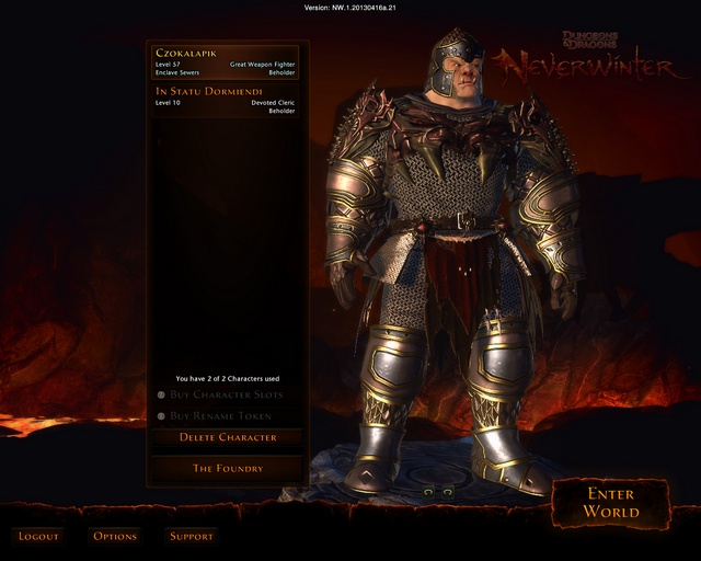 After logging in you will see the start screen with a choice of your character - Start screen and server selection - First steps - Neverwinter - Game Guide and Walkthrough