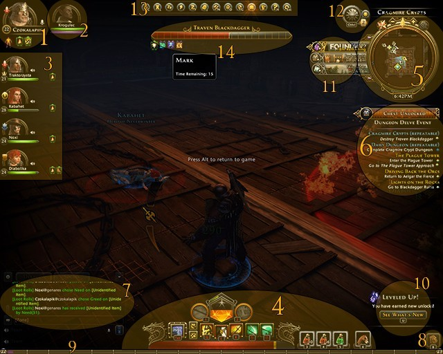 Main interface is rather intuitive and similar to many other MMO or RPG games (you can move its elements around when entering Rearrange HUD mode in man menu) - Main interface - First steps - Neverwinter - Game Guide and Walkthrough