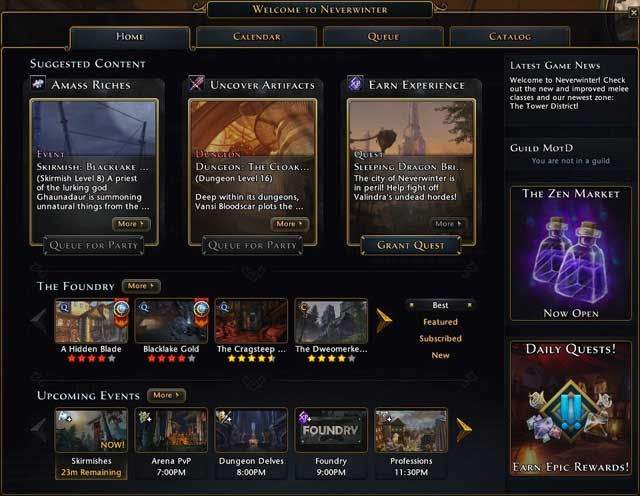 Every module in Landing Page is a collection of most interesting game aspects selected for your level - Landing page and queue system - First steps - Neverwinter - Game Guide and Walkthrough