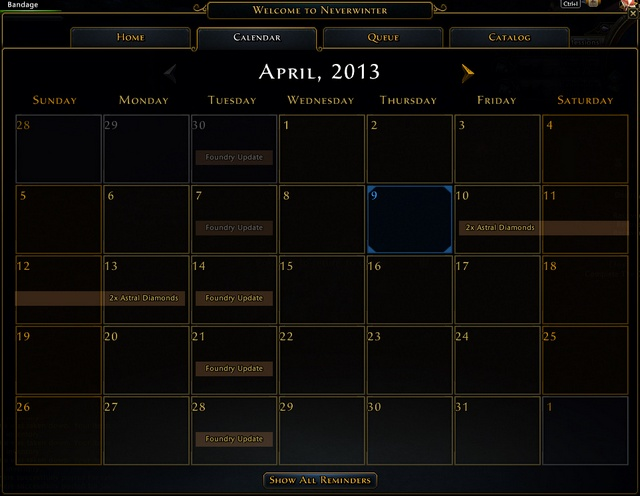 For example if developers are organizing weekend with increased Astral Diamonds drop or bonus Glory weekend you will see it in the calendar - Events - Game basics and exploration - Neverwinter - Game Guide and Walkthrough