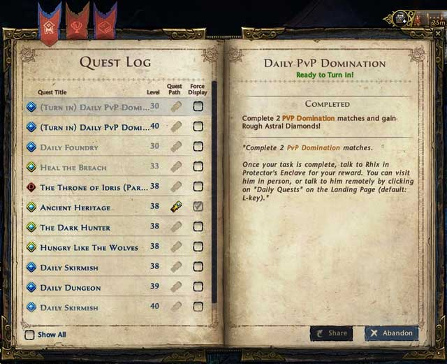 On the right side of the screen most of the time you will see five active quests, it's a shortened version of quest log and it lets you easily track few quests - Quest log and quest path - Quests - Neverwinter - Game Guide and Walkthrough
