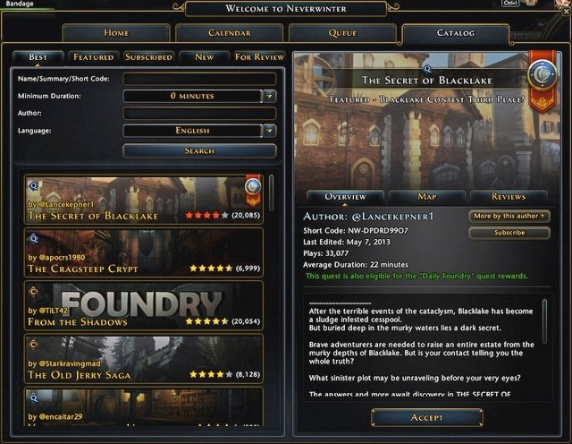 Catalog tab of Landing Page has several important elements - The Foundry quests and local contacts - Quests - Neverwinter - Game Guide and Walkthrough