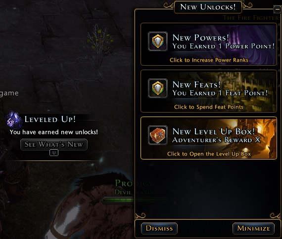 In New Unlocks panel you will see series of blocks informing you about new content, giving you some new quests and blocks opening character window to distribute new power and feast points - Character progression - Hero - Neverwinter - Game Guide and Walkthrough