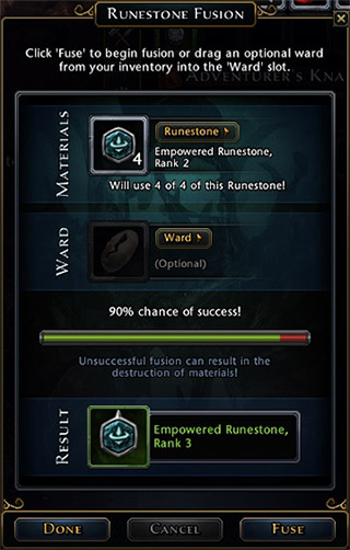 Rank increase isn't guaranteed, for example 4 runes rank 1 will have 95% chances to successfully create one rank 2 rune, but four runes from rank 5 have only 40% of fusion success - Runes and enchantments - Equipment - Neverwinter - Game Guide and Walkthrough