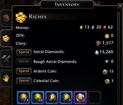Almost every currency is placed in Riches tab of your inventory - Currencies - Neverwinter - Game Guide and Walkthrough