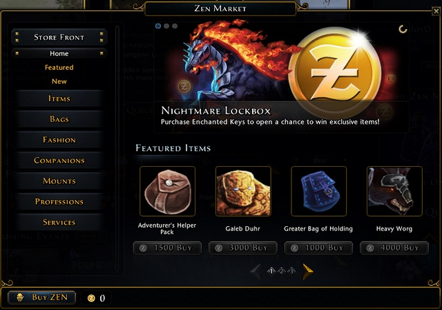 You'll pay with Zen for best quality mounts, companions, bags, items with unique skins or services like name change, additional bank slots etc - Zen - Currencies - Neverwinter - Game Guide and Walkthrough