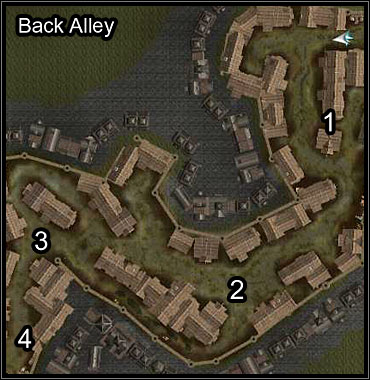Steadily move forwards through the alley, gradually eliminating the enemies - Moire's Gang - Neverwinter - Neverwinter Nights 2 - Game Guide and Walkthrough
